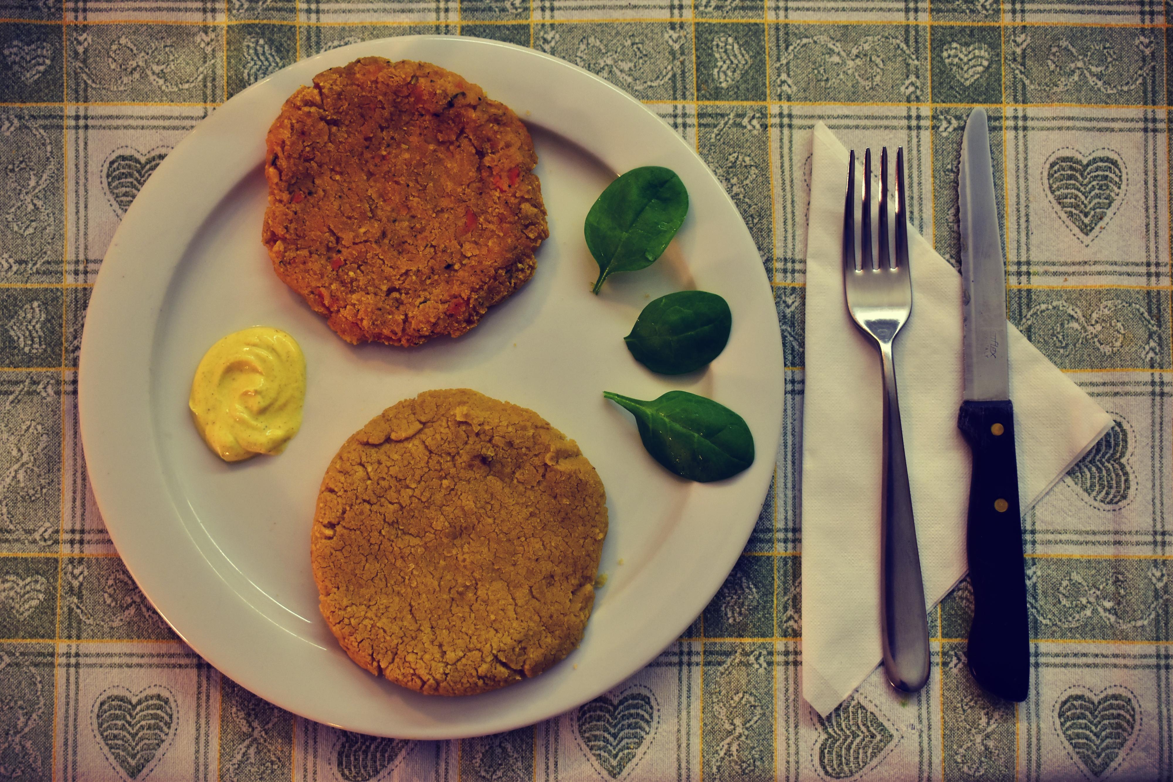 Chickpeas and vegetables vegan burger