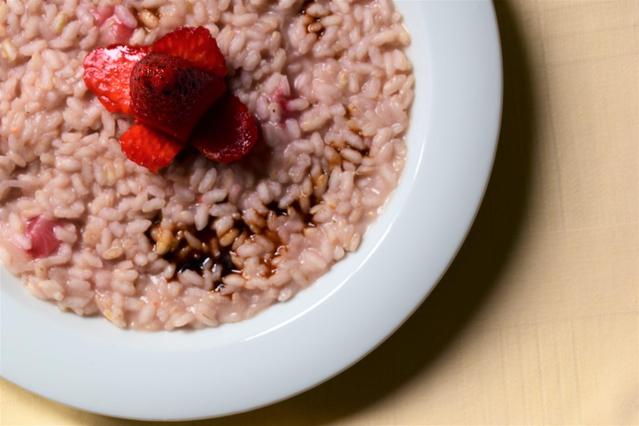 Strawberries risotto