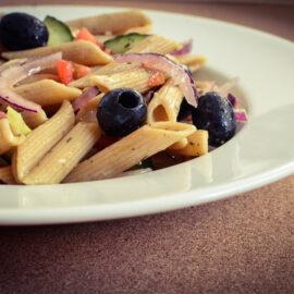 Vegan greek style pasta salad