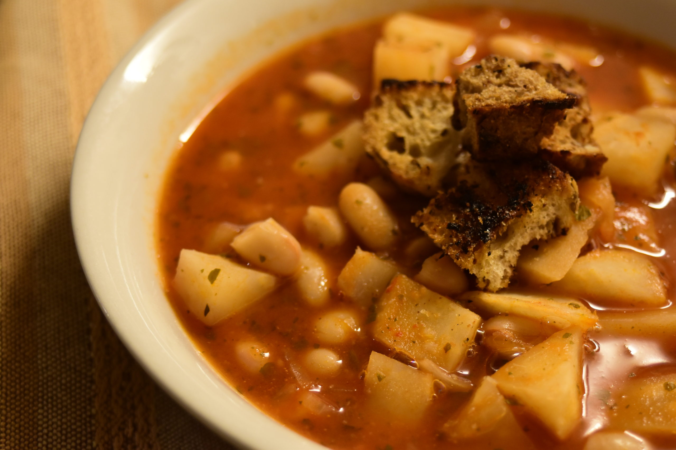 Celeriac and beans soup