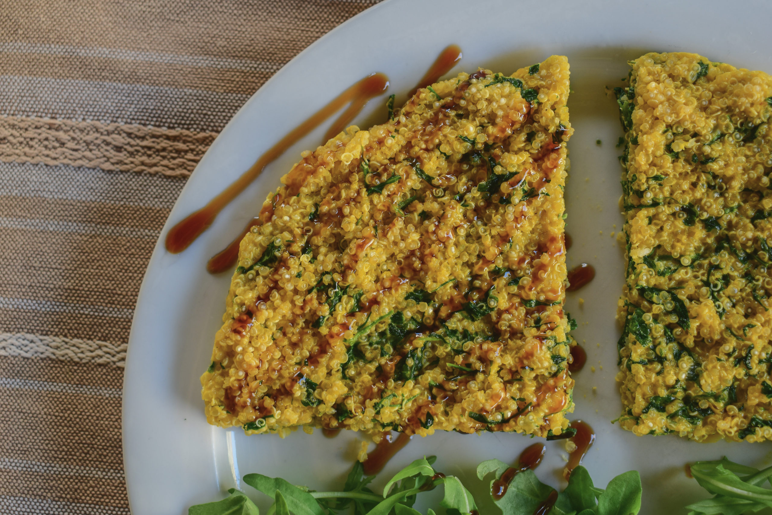 Oven baked rocket salad and quinoa omelette