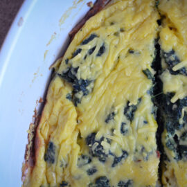 Oven baked omelette with mustard and spinach