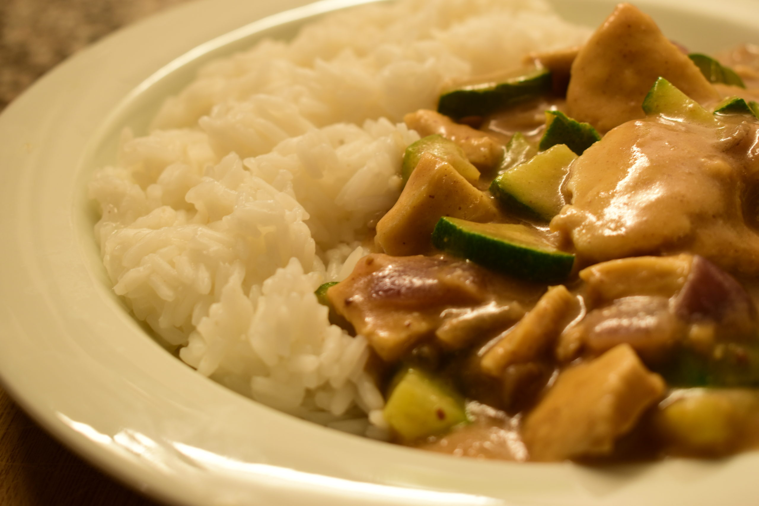 Peanut butter chicken and zucchini with basmati or jasmine rice