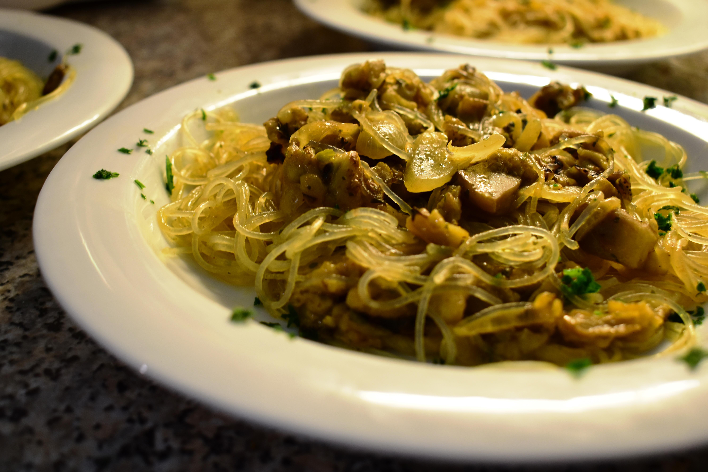 Rice/soy spaghetti with curry & coconut milk aubergine sauce