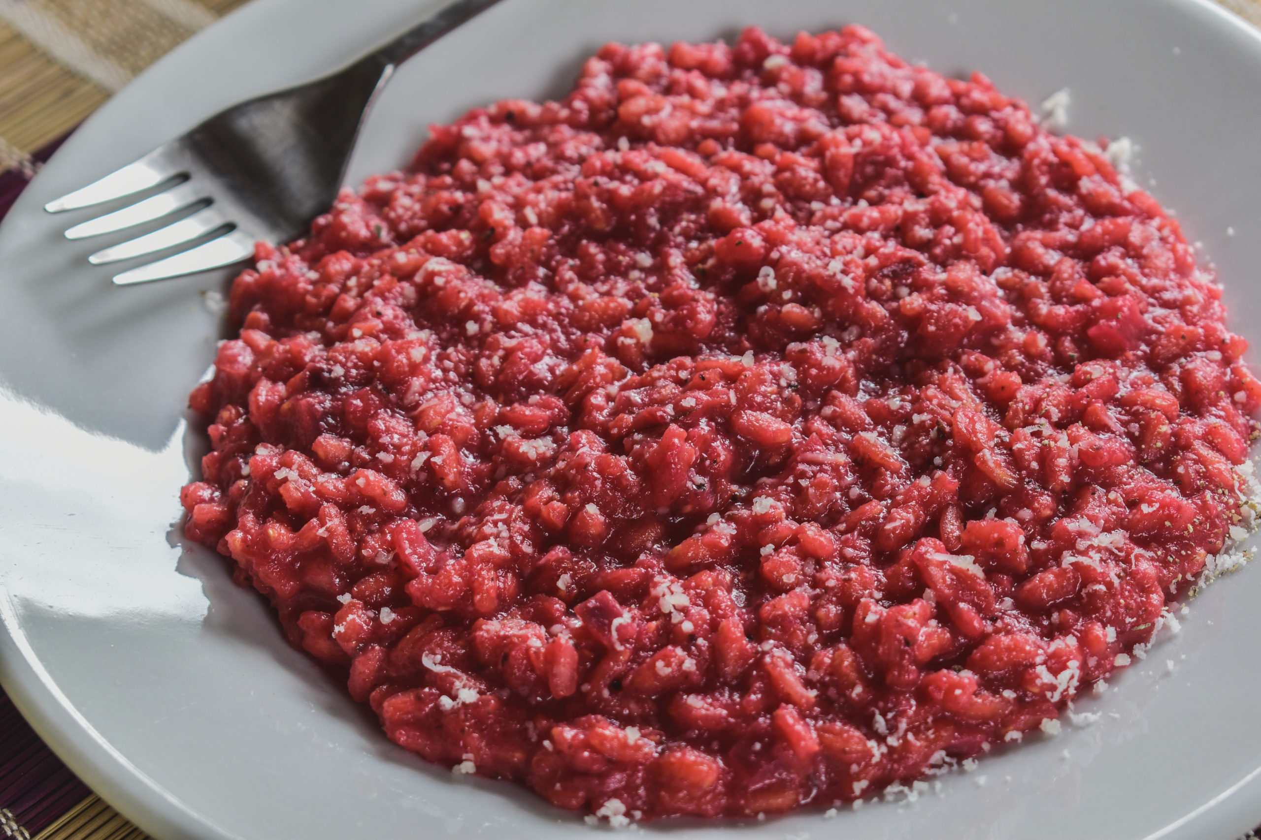 Risotto with red beetroots